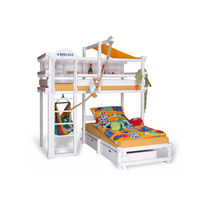 Corner bunk bed / contemporary / child's unisex / beech