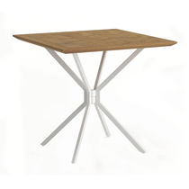 Contemporary table / teak / aluminum / round