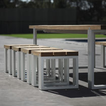 Contemporary stool / teak / garden