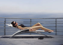 Contemporary sun lounger / stainless steel / garden / stackable