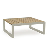 Contemporary coffee table / metal / teak / aluminum