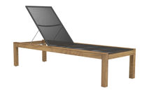 Contemporary sun lounger / teak / garden / adjustable backrest