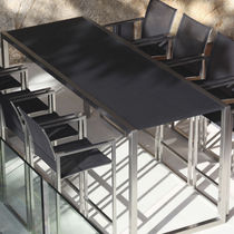 Contemporary high bar table / glass / teak / ceramic