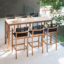 Contemporary high bar table / teak / rectangular / garden