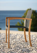Contemporary chair / with armrests / Batyline® / walnut