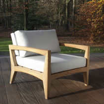 Contemporary armchair / teak / garden