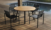 Contemporary table / glass / teak / round
