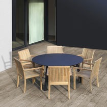 Round table / indoor/outdoor / contemporary / teak