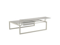 Contemporary coffee table / glass / ceramic / stainless steel