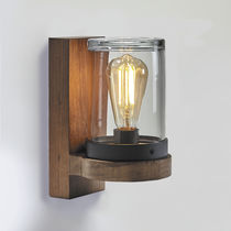 Contemporary wall light / teak / LED / round