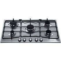 Gas cooktop / with grill / wok / stainless steel