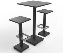 Contemporary high bar table / laminated MDF / metal / square