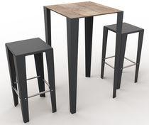 Contemporary bistro table / metal / laminate / square