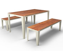 Contemporary bench and table set / metal / laminated MDF / outdoor