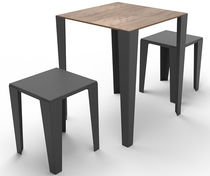 Contemporary table / laminated MDF / metal / square