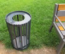 Public trash can / metal / contemporary
