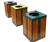 Public trash can / wooden / recycling / contemporary