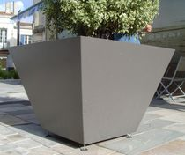Metal planter / square / contemporary / for public spaces