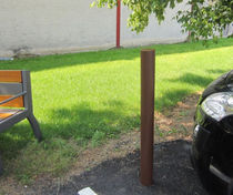 Security bollard / stainless steel / removable / high