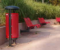 Public trash can / metal / with built-in ashtray / contemporary