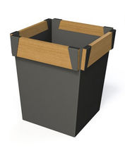 Metal planter / wooden / square / contemporary
