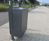Public trash can / wall-mounted / built-in / metal