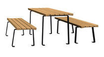 Contemporary picnic table / wooden / rectangular / for public spaces