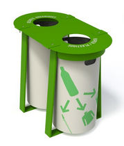 Public trash can / metal / recycling / contemporary
