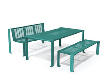 Contemporary bench and table set / metal / exterior / for public areas
