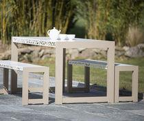 Contemporary bench and table set / aluminum / garden / outdoor