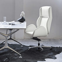 Contemporary executive chair / leather / metal / wooden