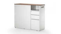 Low bookcase / contemporary / for offices / wooden