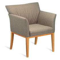 Contemporary visitor armchair / wooden / fabric