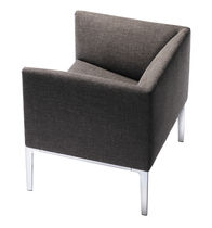 Contemporary visitor armchair / fabric / aluminium / leather