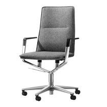 Contemporary office chair / fabric / leather / chromed metal