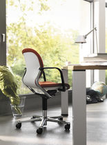 Contemporary office chair / fabric / leather / polished steel