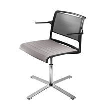 Contemporary visitor chair / aluminum / on casters / swivel