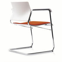 Contemporary visitor chair / fabric / steel / chromed metal
