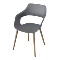 Contemporary visitor chair / fabric / wooden / upholstered