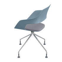 Contemporary visitor chair / metal / fabric / upholstered