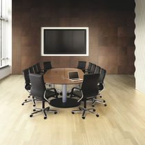 Contemporary boardroom table / wooden / rectangular / with integrated electrical outlet