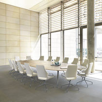 Contemporary conference table / wooden / oval / curved