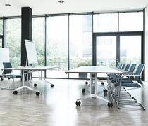 Contemporary classroom table / aluminum / rectangular / on casters