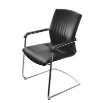 Contemporary visitor chair / fabric / leather / with armrests