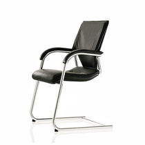 Contemporary visitor chair / fabric / leather / chromed metal