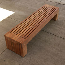 Public bench / contemporary / wooden