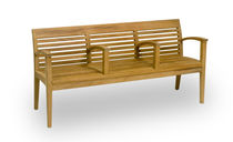 Public bench / traditional / wooden / with armrests