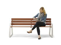 Public bench / contemporary / aluminum / with armrests