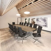 Contemporary boardroom table / wooden / laminate / chromed metal