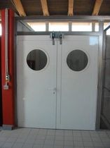 aluminium swing door with porthole  ecospace